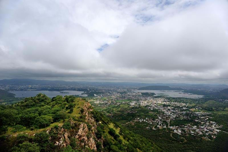 View of Udaipur city and its famous lakes from the hilltop Monsoon Palace